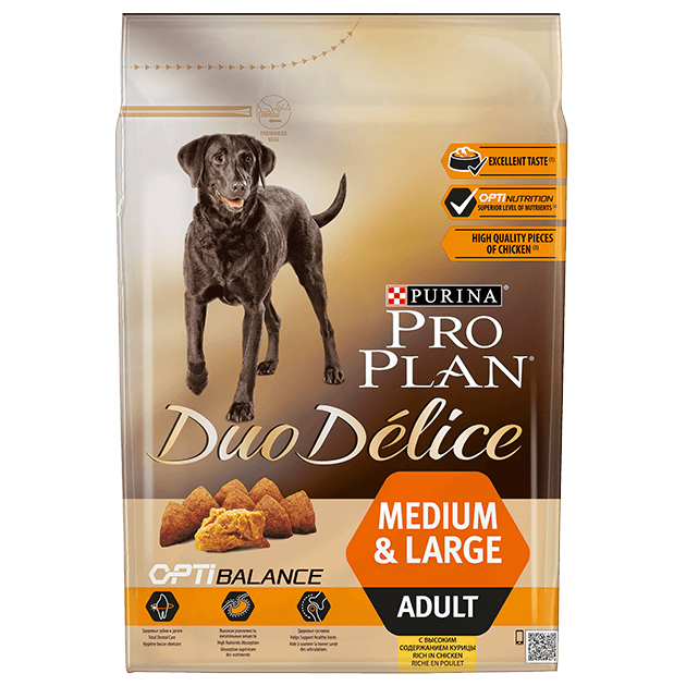 PRO PLAN® DUO DELICE® Medium & Large Adult com Frango e Arroz